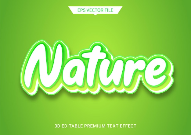 Nature green 3d editable text style effect premium vector
