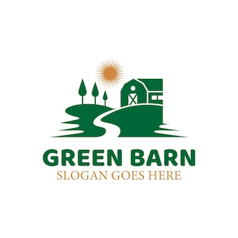 自然緑の農場の家、太陽のある古い納屋の村、農地のロゴのテンプレート
