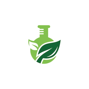Nature green leaf and lab laboratory tube logo design