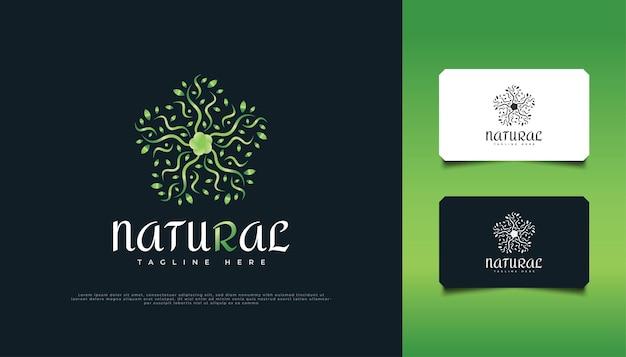 ネイチャーグリーンリーフオーナメントのロゴデザイン、スパ、美容、リゾート、または化粧品のアイデンティティに適しています。緑の曼荼羅のロゴ