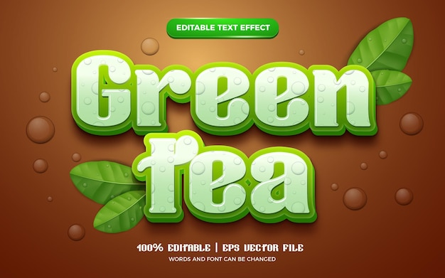 Nature green tea leaves fresh 3d editable text effect