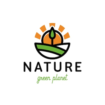 Nature green tree sun logo design
