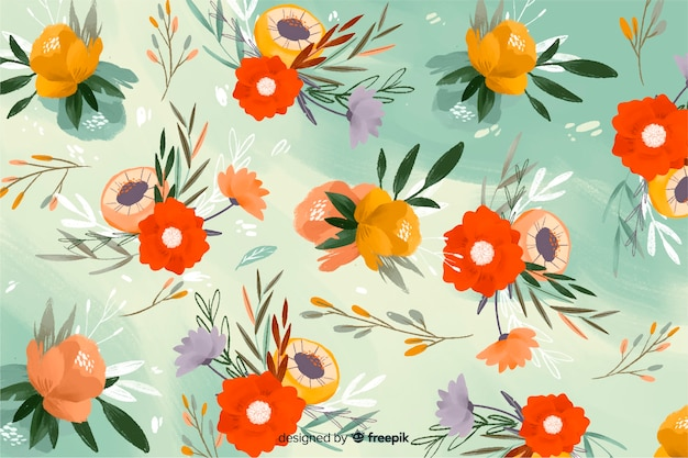 Nature hand-drawn flowers background