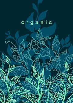 Природа рисованной иллюстрации арт линия ботаническое растение чайный куст