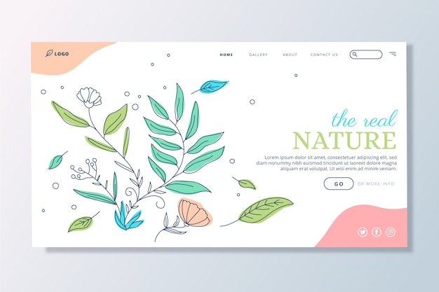 Nature hand drawn landing page template