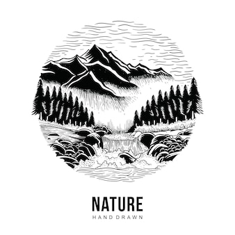 Nature hand drawn
