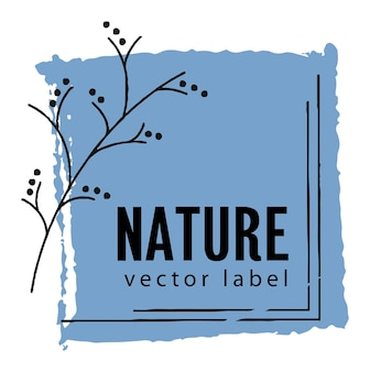 Nature and health organic products label emblem