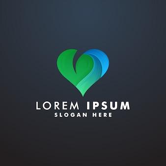Сердце природы с шаблоном логотипа листа
