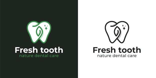 歯磨き粉と歯科医のロゴのためのきれいな白い歯を持つ自然ハーブの新鮮なトゥートまたは歯科