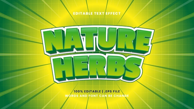 Nature herbs editable text effect in modern 3d style