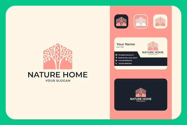 Nature home with tree logo design and business card