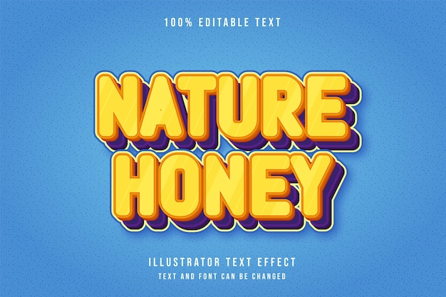 Nature honey,3d editable text effect yellow gradation orange purple comic style