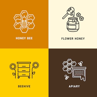 Nature honey, bees honeycomb vector logos