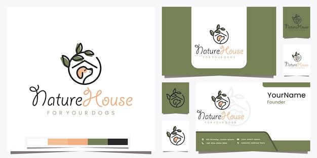 아름다운 라인 아트 로고 디자인 영감으로 개를위한 자연의 집