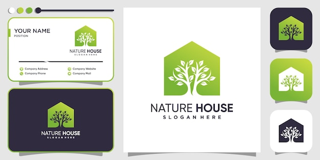 Концепция логотипа дома природы в современном стиле premium векторы