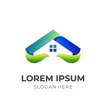 자연 집 로고, 집과 잎, 3d 다채로운 스타일의 조합 로고