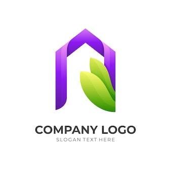 Логотип дома природы, дом и лист, комбинированный логотип с красочным 3d стилем