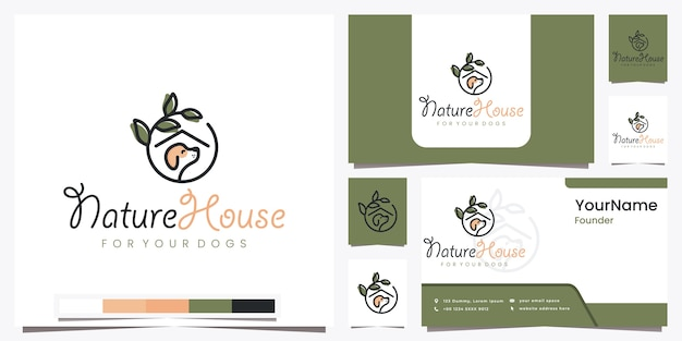 Nature house for your dogs with beautiful line art logo design inspiration