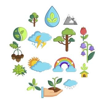 Nature icon set symbols, cartoon style