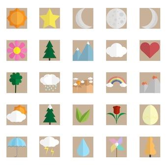 Nature icon set vector design