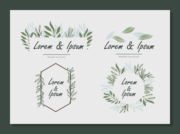 自然の象徴的な結婚式の名前セット