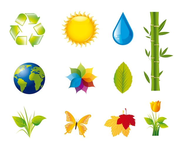 Nature icons isolated over white background vector illustration
