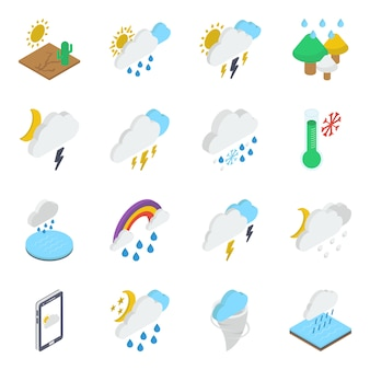 Nature icons in isometric design