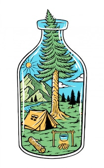 Природа в бутылке иллюстрации