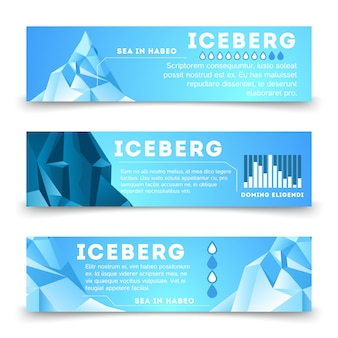 Nature information banners template with iceberg polar
