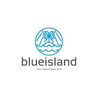Природа острова линейный векторный логотип шаблон