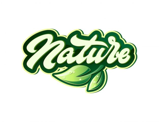Nature label in lettering style