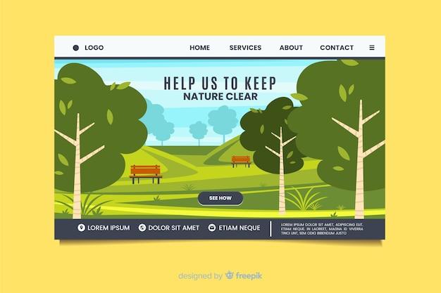 Nature landing page flat design