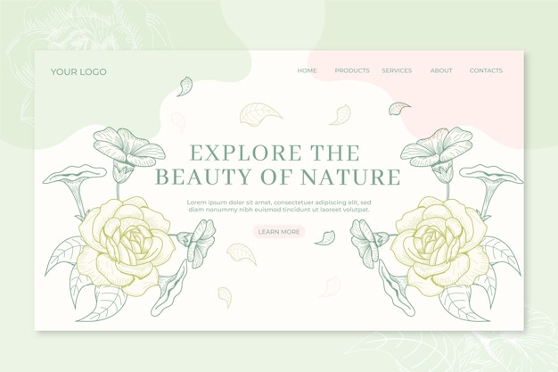 Nature landing page hand drawn