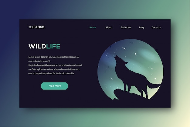 Nature landing page illustration with wolf howling theme