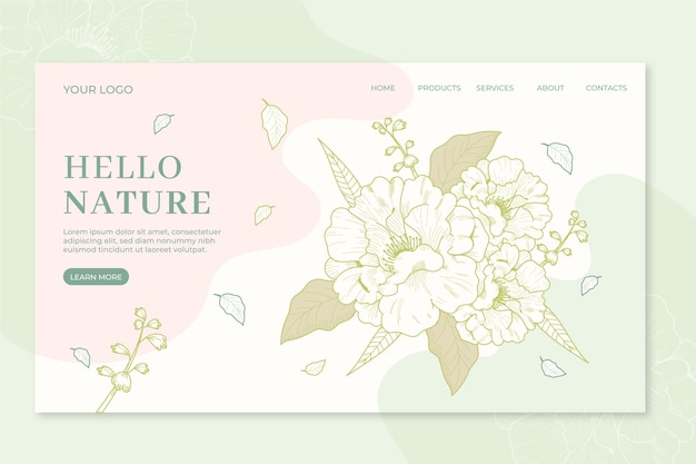 Nature landing page template hand drawn