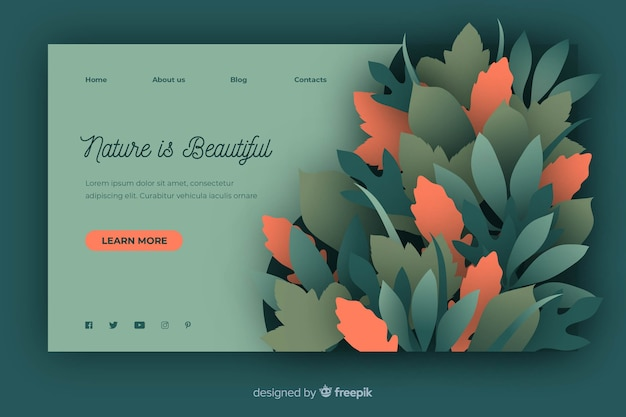 Nature landing page template in paper style