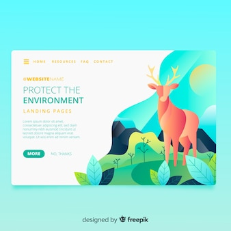 Nature landing page with deer design
