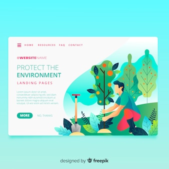 Nature landing page with illustration