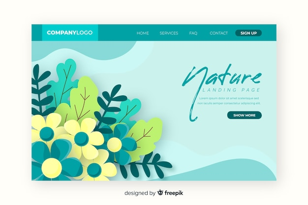 Nature landing page with leaves