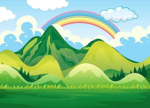 自然の風景と虹