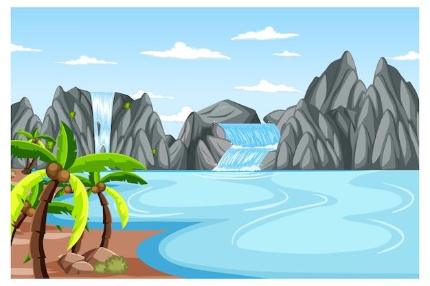 滝のある昼間のシーンでの自然の風景