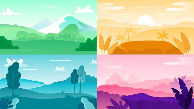 자연 풍경 배경입니다. 풍경 하늘과 산, 야외 언덕과 나무 자연 다채로운, 벡터 일러스트 레이 션, 자연 숲 일출