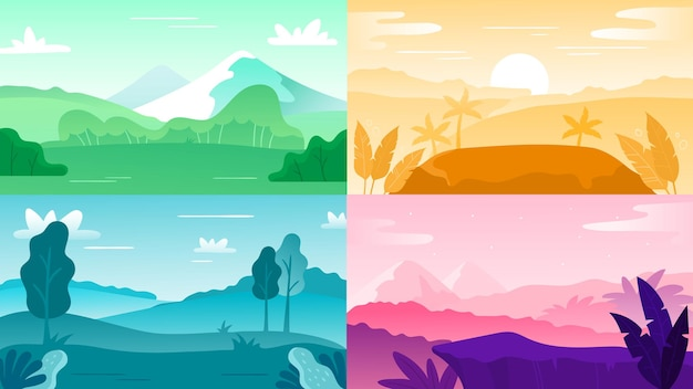 Nature landscape background. landscape sky and mountain, hill outdoor and tree natural colorful, vector illustration, natural forest sunrise