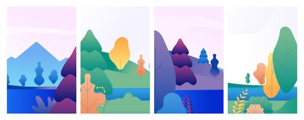 자연 경관 카드. 겨울 여름 봄 배너, 숲과 호수 최소한의 스타일 소셜 미디어 벡터 템플릿. 장면 봄과 가을, 여름 풍경과 겨울 그림