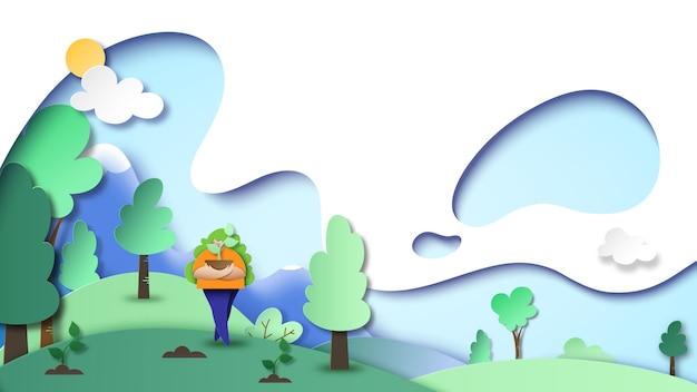 Nature landscape concept background paper art style