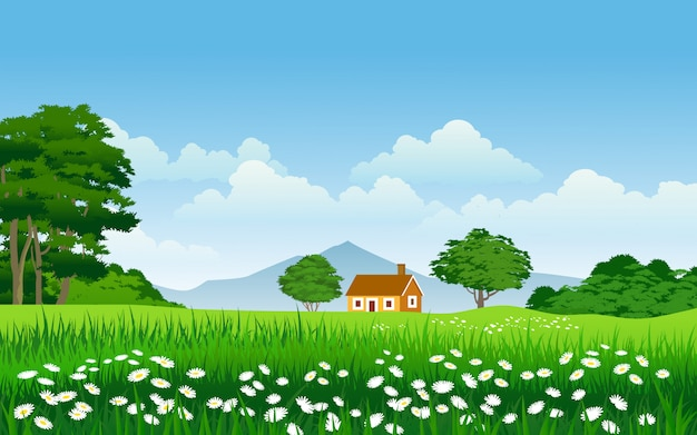 Nature landscape in countryside with house and flowers