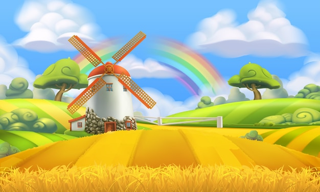 Nature landscape. farm and mill background