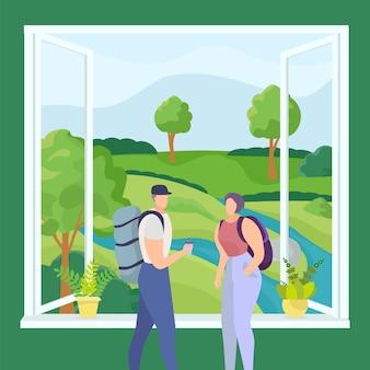男性女性人イラストの自然風景。旅行活動、大きな窓際の観光客が山を見る。休日