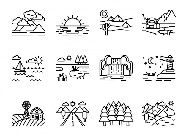 Nature landscape icons set. line style stock vector.