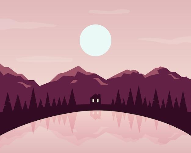 自然の風景イラスト。風景のシルエット